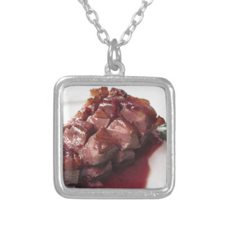 Duck breast on Sangiovese red wine sauce Silver Plated Necklace