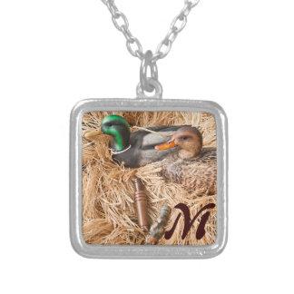 Duck Call Mallard Drake Hunting Monogram Necklace