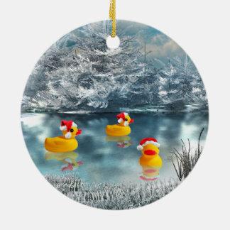 Duck Christmas Round Ceramic Ornament