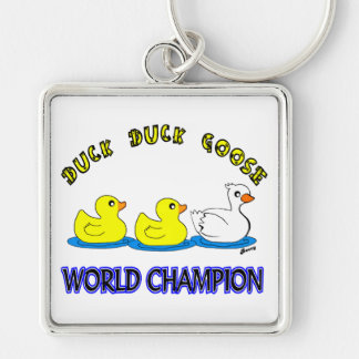 Duck Duck Goose World Champion Silver-Colored Square Keychain