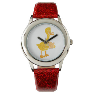 duck eating bread. wristwatches