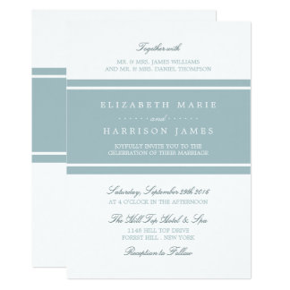 Duck Egg Blue Modern Wedding Card