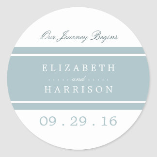 Duck Egg Blue Modern Wedding Classic Round Sticker