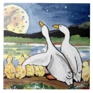 "Duck Family Ducklings Watch Moon 6"" Tile Trivet"