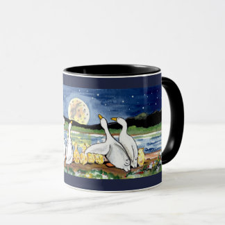 Duck Family Ducklings Watch Moon Designer Mug