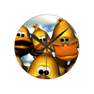 Duck Gathering Round Clock