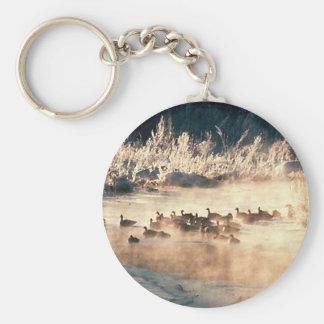Duck Hunting Logo Basic Round Button Keychain