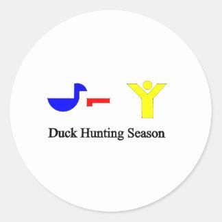 Duck Hunting Season Round Sticker