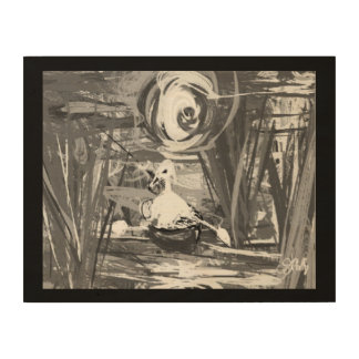 Duck in a boat wood print