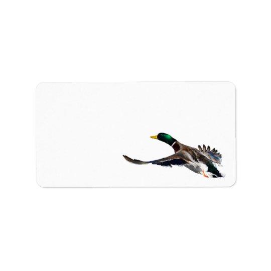 duck in flight label