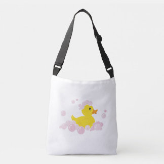 Duck in Pink Bubbles Crossbody Bag