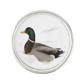 Duck in Snow Lapel Pin