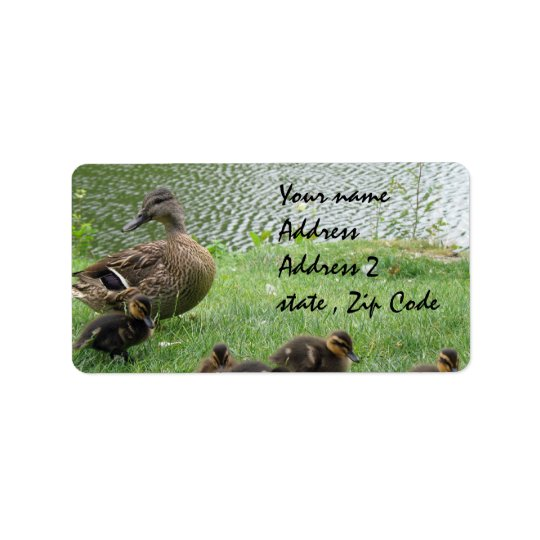 Duck mom and ducklings label