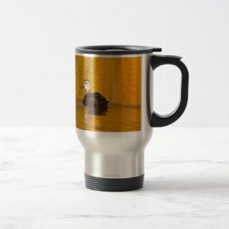 Duck on a golden pond travel mug