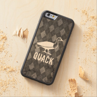 Duck Pictogram on Black Argyle Grunge Carved Maple iPhone 6 Bumper Case