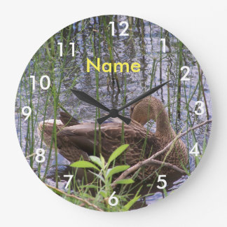 Duck Preening in the Reeds Large Clock