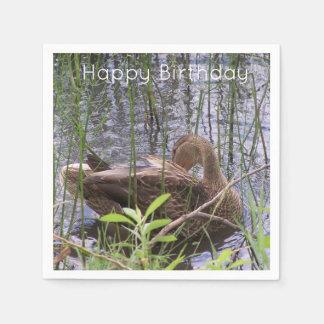 Duck Preening in the Reeds Paper Napkin