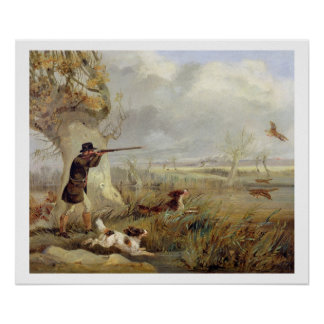 Duck Shooting (oil on canvas) Posters