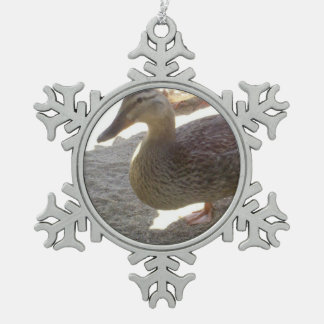 Duck Snowflake Pewter Christmas Ornament