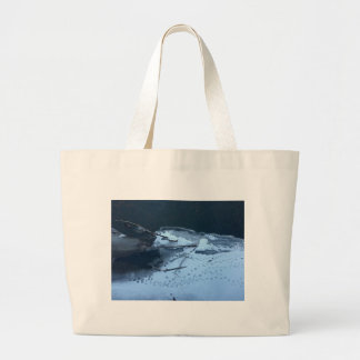 Duck Tracks In the Snow Large Tote Bag