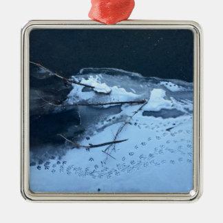 Duck Tracks In the Snow Silver-Colored Square Ornament