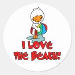Duckie Love the Beach Round Sticker