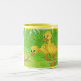 Duckings and the Snail Two-Tone Coffee Mug