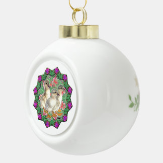 Ducklings and Flowers Ceramic Ball Christmas Ornament