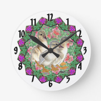 Ducklings and Flowers Round Clock