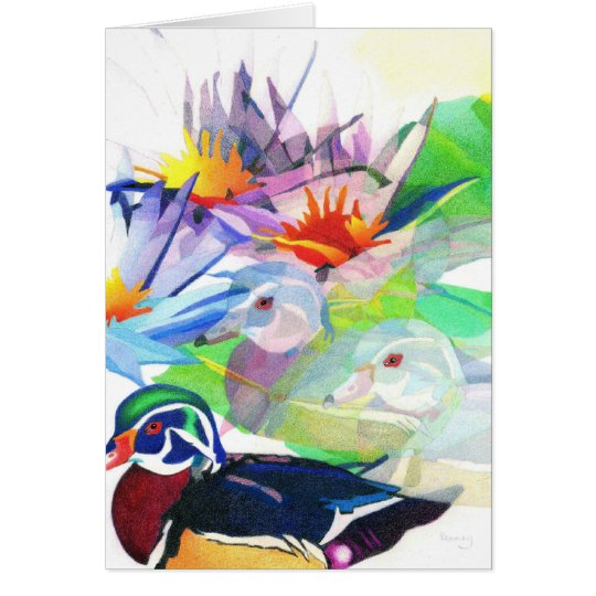 Ducks and lotus card