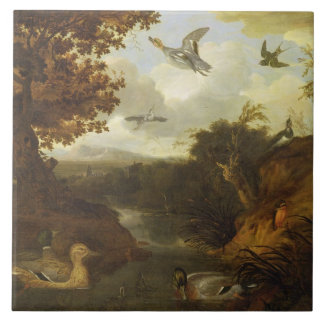 Ducks and other birds about a stream in an Italian Tile