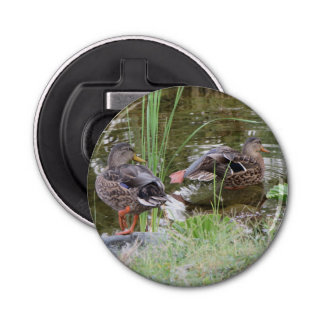 Ducks at the Pond Button Bottle Opener