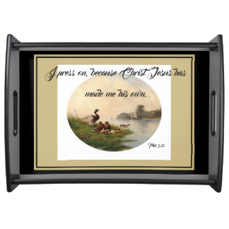 Ducks Birds Pond Jesus Bible Press On Serving Tray
