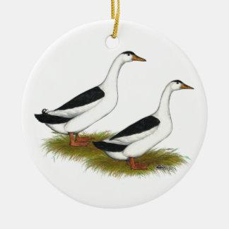 Ducks:  Black Magpies Ceramic Ornament