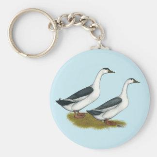 Ducks:  Blue Magpies Basic Round Button Keychain
