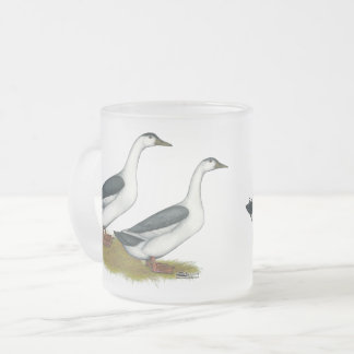 Ducks:  Blue Magpies Frosted Glass Coffee Mug
