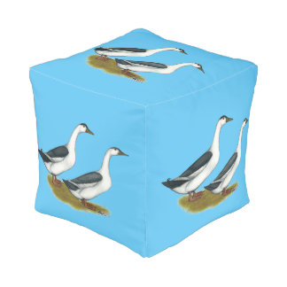 Ducks:  Blue Magpies Pouf
