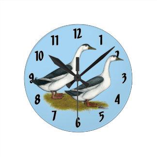 Ducks:  Blue Magpies Round Clock