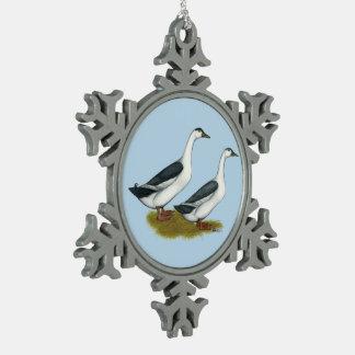 Ducks:  Blue Magpies Snowflake Pewter Christmas Ornament