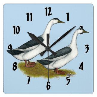 Ducks:  Blue Magpies Square Wall Clock