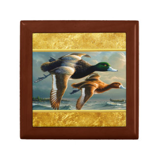 Ducks flying over the sea With a small boat below Gift Box