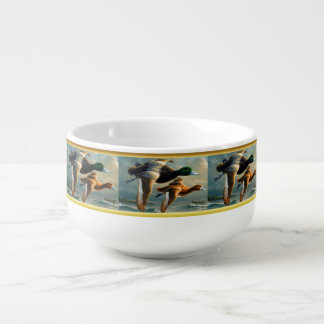 Ducks flying over the sea With a small boat below Soup Mug