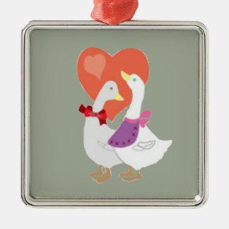 Ducks in Love Silver-Colored Square Ornament