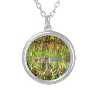 DUCKS IN WTAER AUSTRALIA ART EFFECTS SILVER PLATED NECKLACE