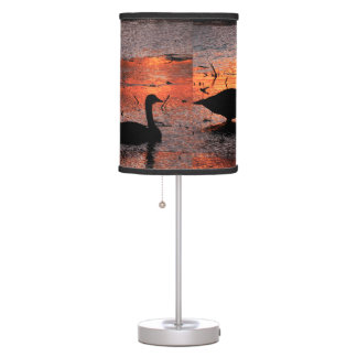Ducks on a Pond at Sunset Table Lamp