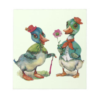 Ducks Romantic Couple Love Boy Girl Vintage Art Notepad