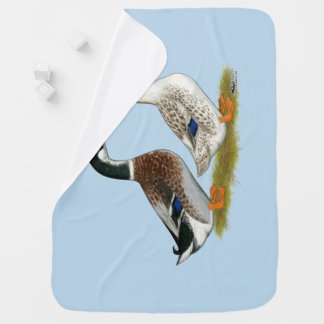 Ducks:  Silver Appleyard Baby Blanket