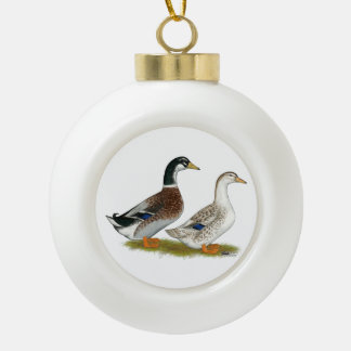 Ducks:  Silver Appleyard Ceramic Ball Christmas Ornament