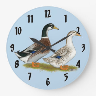 Ducks:  Silver Appleyard Large Clock