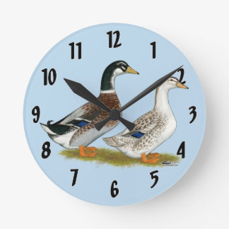 Ducks:  Silver Appleyard Round Clock